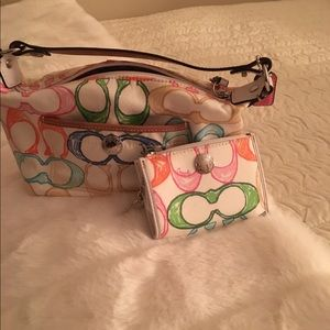 Coach Handbags - Coach scribble mini bag and mini wallet