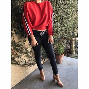 Red Racer Batwing Sleeve Blouse