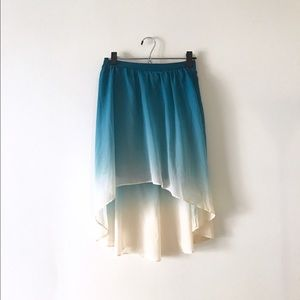 ✨SALE ✨ High-low Teal/Cream Ombre Skirt