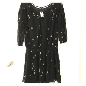 MM Couture Tops - MM Couture Black Star Print Tunic Blouse
