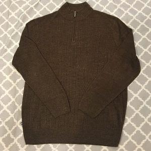 Geoffrey Beene Brown Soft Mock Neck Zip Sweater