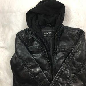 Black Rivet Jackets & Blazers - Layered Leather and Sweatshirt Jacket