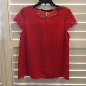 Kensie Tops - Kensie Red Shannon Lace Blouse, Large