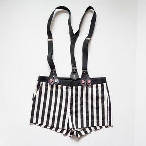 Pants - Black & White Striped Suspender Shorts