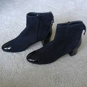 Hogan Shoes - Black Suede/Patent Leather Ankle Boots