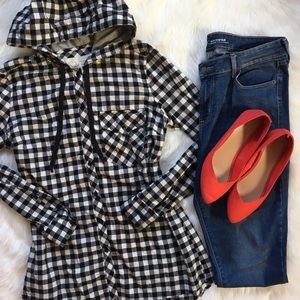 Girl Krazy Tops - LAST CHANCE!! 🌻 Hooded Plaid Boyfriend Top