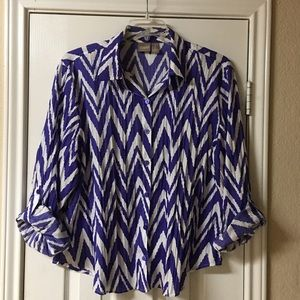 Chico's Purple & White Chevron Button Down top
