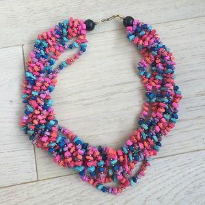 Multicolored necklace pink blue neck vintage retro