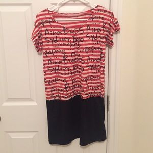 Dresses & Skirts - Red and white striped dress with black bottom