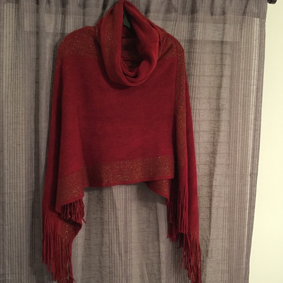 Sweaters - Dark red sweater poncho cowl neck fringe sides NEW