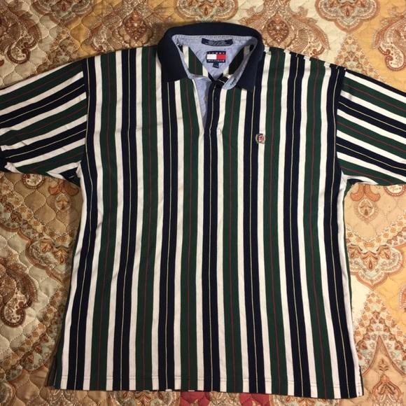 b5b04dacc Vintage Tommy Hilfiger Vertical Stripe Polo Shirt.  M_587ac839f09282107f041638