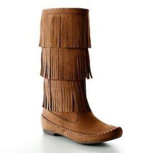 LC Lauren Conrad Shoes - LC Lauren Conrad Mid Calf Tan Fringe Boots