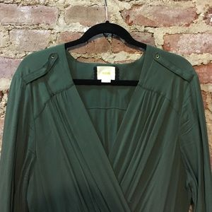 Anthropologie Dresses & Skirts - NWOT Anthropologie Army Green Wrap Dress