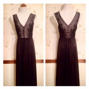 Vintage Black Maxi Nightgown, Sheer Lace Detail