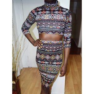 Dresses & Skirts - AZTEC PRINT TOP/BOTTOM SET