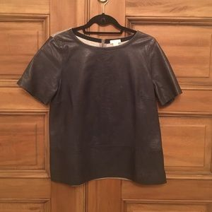 Leather jcrew top