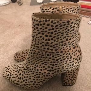 Faux Fur Leopard Ankle Boots