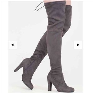 Shoes - Grey thigh high boots