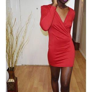 Dresses & Skirts - RED WRAP FRONT MINI DRESS