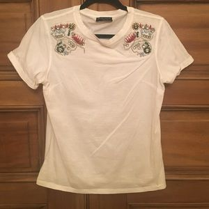 Zara white t shirt with bead embroidery