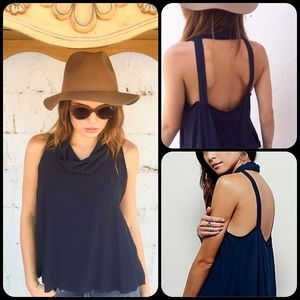 Free People Tops - Free People City Lights Navy Cowl Top
