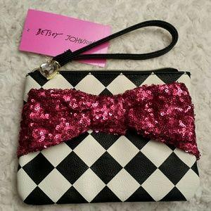 Betsy Johnson  Handbags - Betsy Johnson NWT Sequined Pink Bow Wristlet