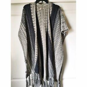 ✨Knit cardigan style shawl with fringe bottom✨