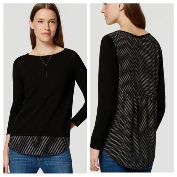 ff012cc457a36c LOFT Dotted Mixed Media Shirttail Sweater Black