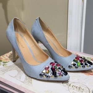 Shoe Dazzle Shoes - Suede baby blue pumps