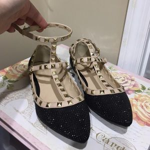 Shoes - Black studded flats Valentino inspired