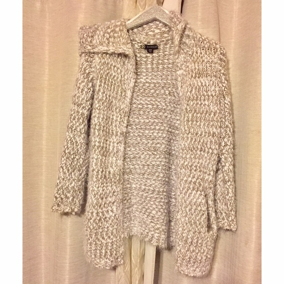 60% off Sweaters - Taupe and white fuzzy hooded cardigan from ...