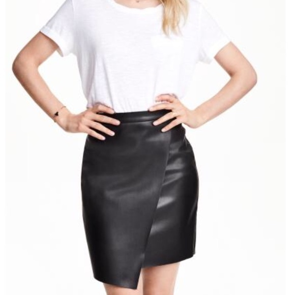 f7c40ba376 H&M Skirts | Hm Faux Leather Wrap Skirt Size 6 | Poshmark