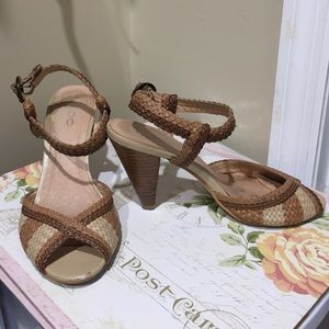 Aldo Shoes - Braided tan peep toe sandals