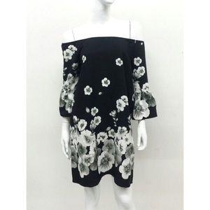 Off Shoulder Floral Print Dress-White/Black