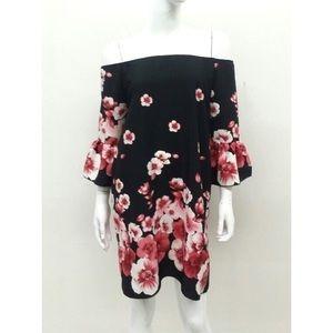 Off Shoulder Floral Print Dress-Red/Black
