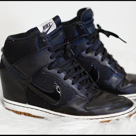 Black Nike Sky High Dunks hidden wedge sneaker