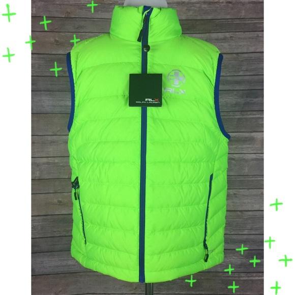 Ralph Lauren Men/'s RLX Puffer Vest ~ Neon Green ~ NWT~