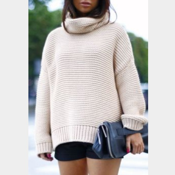 55% off Zara Sweaters - Zara Oversized Light Pink Turtleneck ...