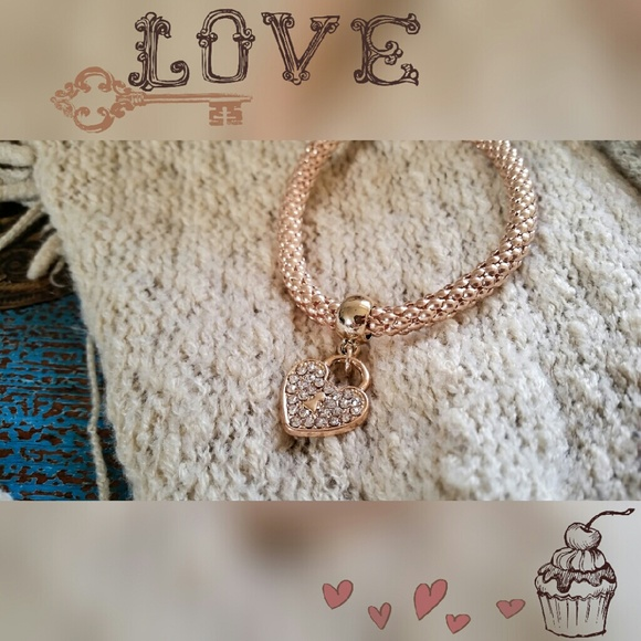 Bronze Heart Lock Bracelet