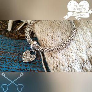 Jewelry - Silver Heart Lock Bracelet