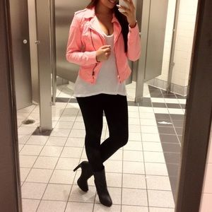 HOT PINK ZARA DENIM MOTO STYLE JACKET SIZE SMALL S