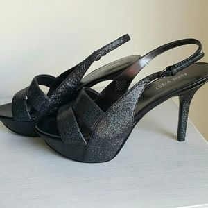 NWOT*Sparkle Black Nine West Platform Sandals