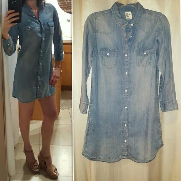 81d3521f91d00 H&M Dresses   Hm Logg Denim Shirt Dress 34 Sleeves Wpockets 4   Poshmark