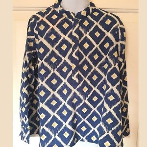 Masala Baby Other - Masala Baby Swing Top Diamond Ikat Blue Shirt