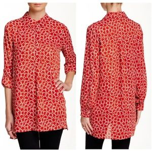 Pleione Tops - Pleione Red Stair Step Button Down Tunic Blouse