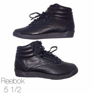 Reebok Shoes - Reebok Black Leather Hi Classic 5 1/2 NWOT