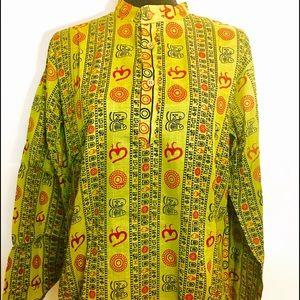 Ethnic boho Om design 100% cotton tunic top L/XL