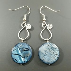 DGwiring Jewelry - HANDMADE Blue Striped Dyed Shell Earrings