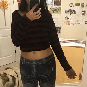 Mine Sweaters - Red Black Striped Sweater Crop Long Sleeve Top