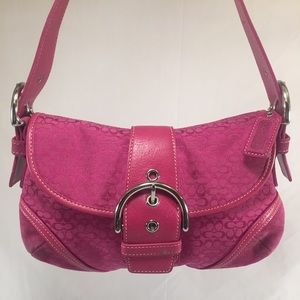 Coach Handbags - COACH Hot Pink Canvas Suede Small Hobo